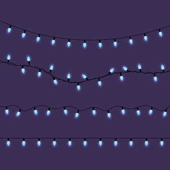 Neonweihnachtslichter, satz blaue led-lichter