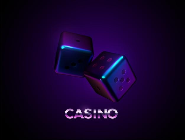 Neonwürfel auf dunklem hintergrundcasino oder glücksspielkonzept. spielzeichen.