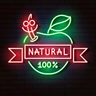 Neonzeichen natürlicher apple leuchtet im dunkeln