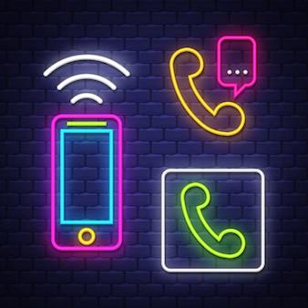 Neonzeichen-sammlung der telefonkommunikation