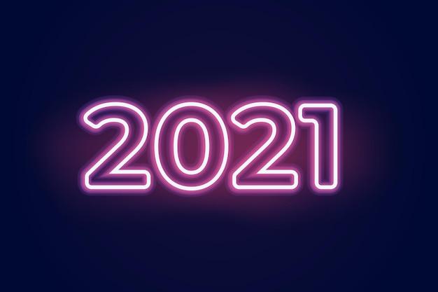Neonzeichen-textbanner 2021. vektor-illustrator