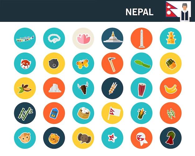 Nepal-konzept flache ikonen