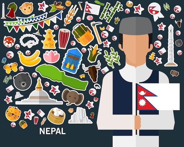 Nepal-konzepthintergrund flache ikonen