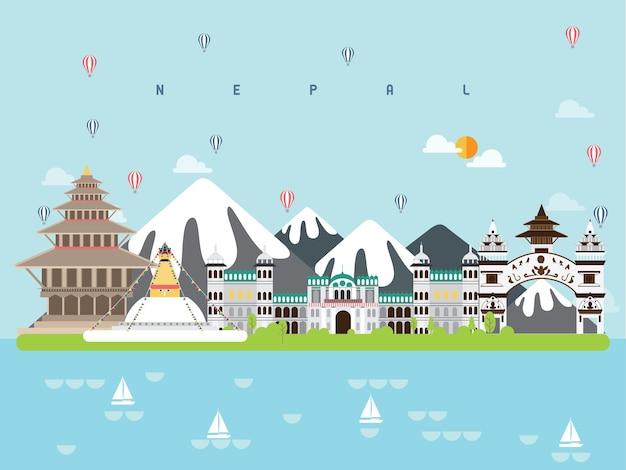 Nepal wahrzeichen infographik