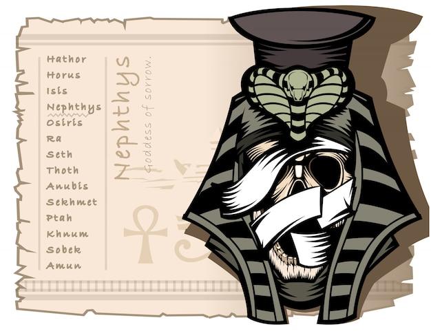 Nephthys ist die göttin der traurigkeit in der alten ägyptischen mythologie