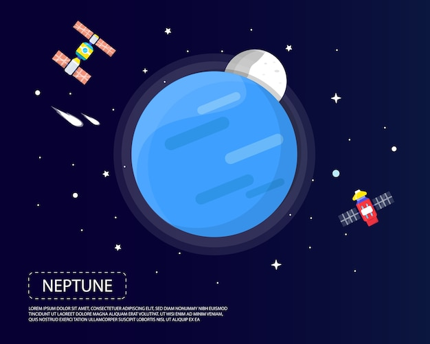 Neptun und pluto des illustrationsdesigns des sonnensystems i