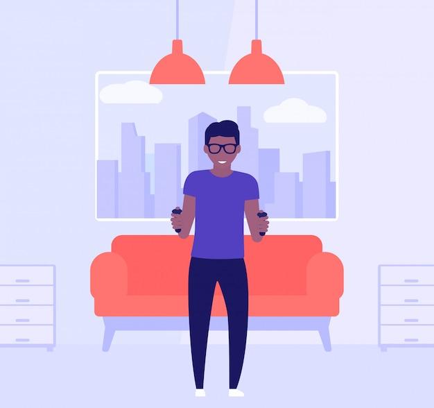 Nerd-typ spielt videospiel im wohnzimmer