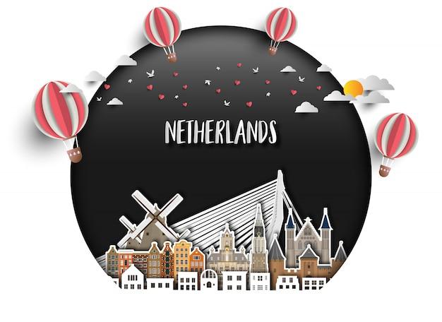 Netherland landmark papierhintergrund