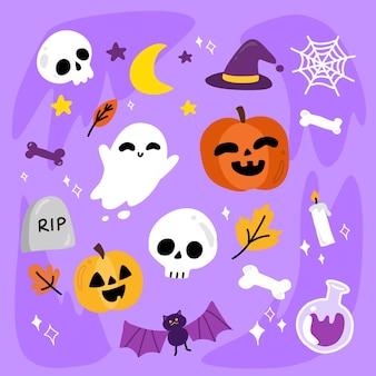 Nette aber beängstigende halloween-charakter-illustrations-design-sammlung