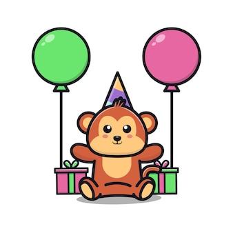 Nette affengeburtstagsfeier mit geschenk- und ballonkarikaturillustration