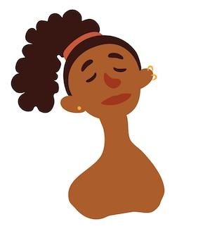 Nette afrikanische frau des porträts mit dem gelockten haar. avatar eines dunkelhäutigen mädchens. afro-frauenporträt mit stilvollem haarschnitt und ohrringen in den ohren. flacher vektor der karikatur.
