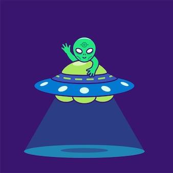 Nette alien reitende ufo-karikaturillustration