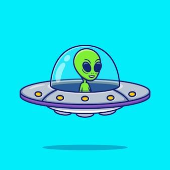 Nette alien ufo cartoon illustration. raumikonen-konzept