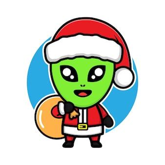 Nette aliens mit weihnachtskostümzeichentrickfilm-figur