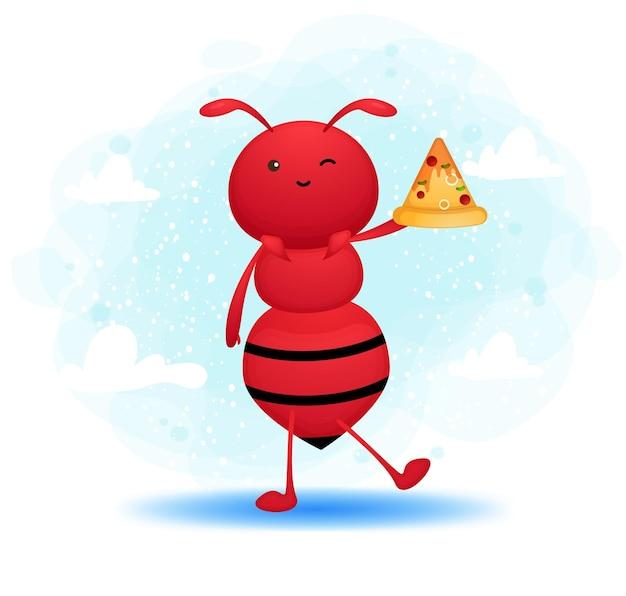 Nette ameise, die pizzastückkarikaturfigur hält