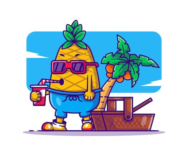 Nette ananas mit getränke- und picknickkorbkarikaturillustration