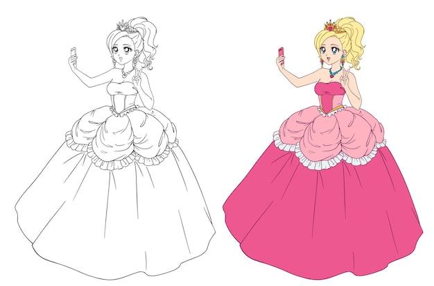 Nette anime-prinzessin, die selfie nimmt. blondes mädchen, das rosa königliches kleid und goldene krone trägt.