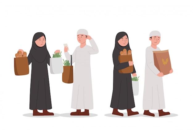 Nette arabische kinder, die zusammen karikatur einkaufen