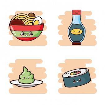 Nette asiatische lebensmittelillustration kawaii schnellimbisses