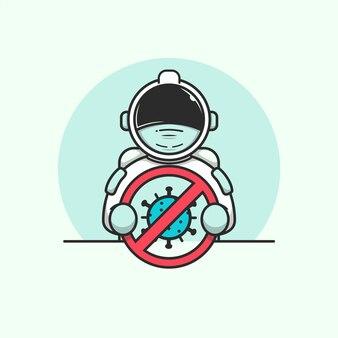 Nette astronauten, die die illustration des stopp-coronavirus-zeichens halten