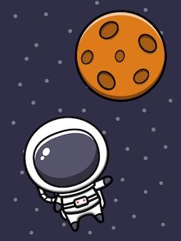 Nette astronauten-karikatur-symbol-illustration