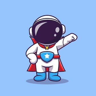 Nette astronauten-superhelden-karikatur-vektor-symbol-illustration. science technology icon