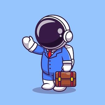 Nette astronautengeschäftsmann-karikaturillustration. science business icon konzept. flacher cartoon-stil