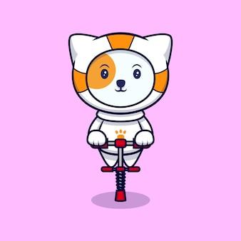 Nette astronautenkatze bereit zu springen