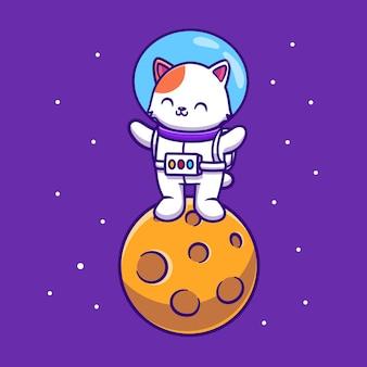 Nette astronautenkatze, die auf mondkarikatur steht