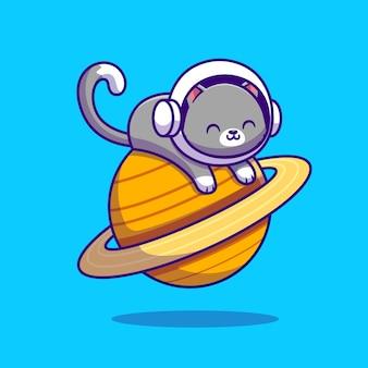 Nette astronautenkatze, die auf planet liegt. tierraum