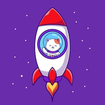 Nette astronautenkatze, die im raketenkarikatur fliegt