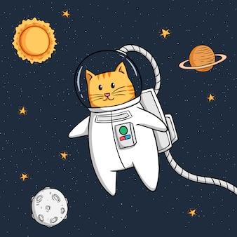 Nette astronautenkatze, die in raum schwimmt