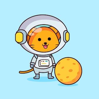 Nette astronautenkatze mit einem mond