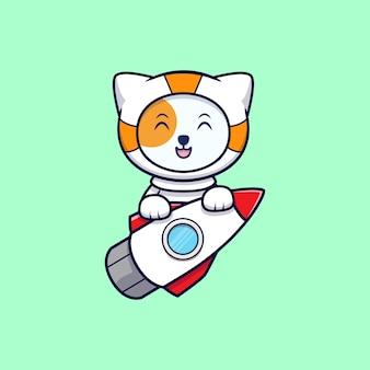 Nette astronautenkatze reitet eine rakete