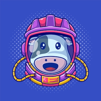 Nette astronautenkuh, die helle flache illustration des helms trägt