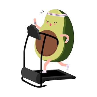Nette avocadoübung, die auf gezeichneter illustration der laufbandkarikaturhand läuft