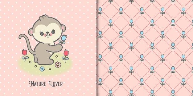 Nette baby-affenkarte mit blumen und nahtlosem blumenmuster