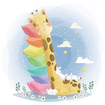 Nette baby-giraffe, die auf den gestapelten kissen schläft