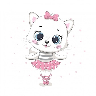 Nette baby-katzenballerina in einem rosa rock. illustration