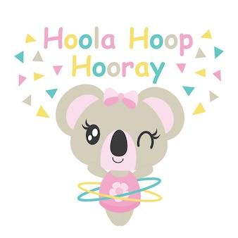Nette baby-koala spielt hoola reifen vektor cartoon illustration für baby-dusche-karte design, kind t-shirt design und tapete