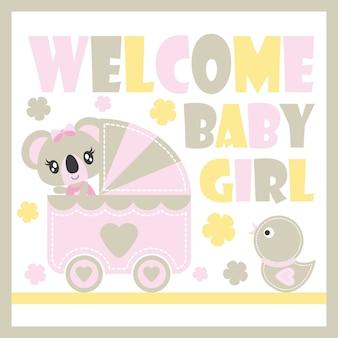 Nette baby-koala-vektor-karikaturillustration für babyparty-kartenentwurf, kindt-shirt entwurf und tapete