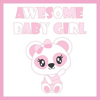 Nette baby-panda-vektor-karikaturillustration für babyparty-kartenentwurf, kindt-shirt entwurf und tapete