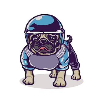 Nette baby pug sport cartoon illustration