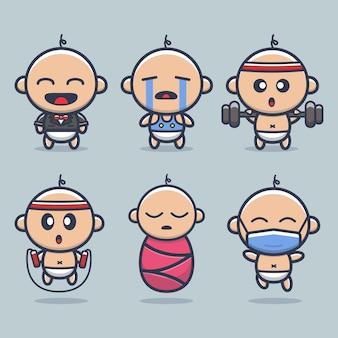 Nette baby-vektor-symbol-illustration. isoliert. baby cartoon style geeignet für aufkleber, web landing page, banner, flyer, maskottchen, poster.