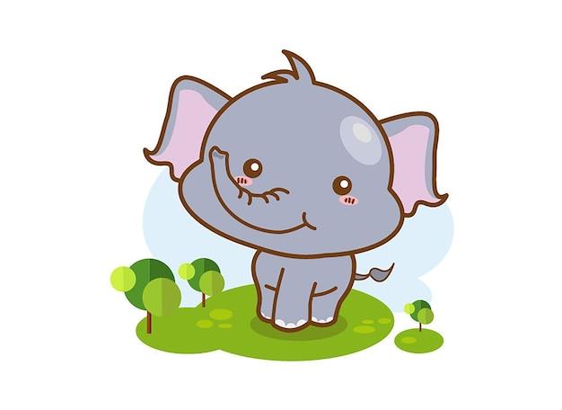 Nette babyelefantkarikatur, die auf einem weißen hintergrund sitzt