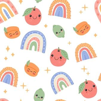 Nette babyfrüchte und regenbogen mit nahtlosem muster der lächelnden gesichtskarikatur.
