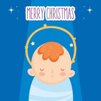 Nette babyjesus-krippenkrippe, frohe weihnachten