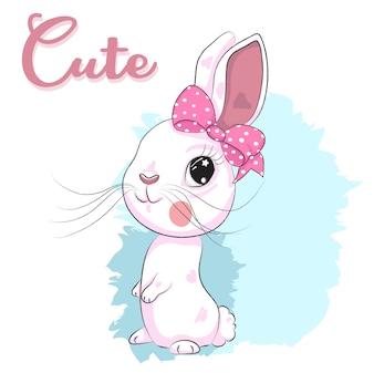Nette Babykaninchen-Mädchenkarikaturhand gezeichnet