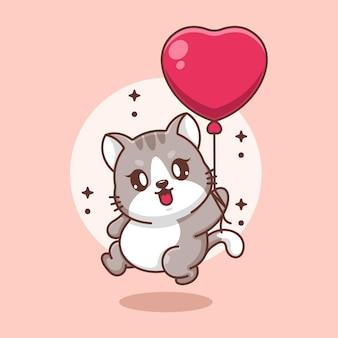 Nette babykatze, die mit ballonkarikatur fliegt