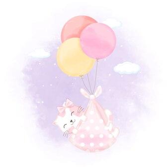 Nette babykatze mit ballon-neugeborenen-cartoon-illustration